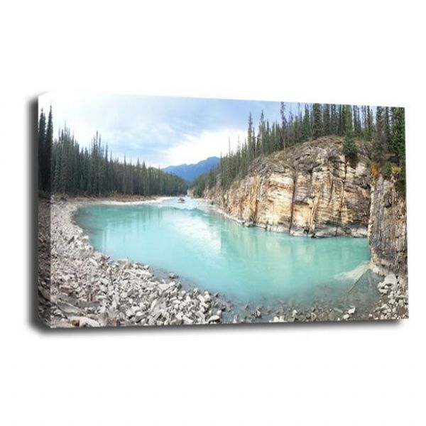 Forest Landscape Canvas Art Blue Lake Wall Picture Print